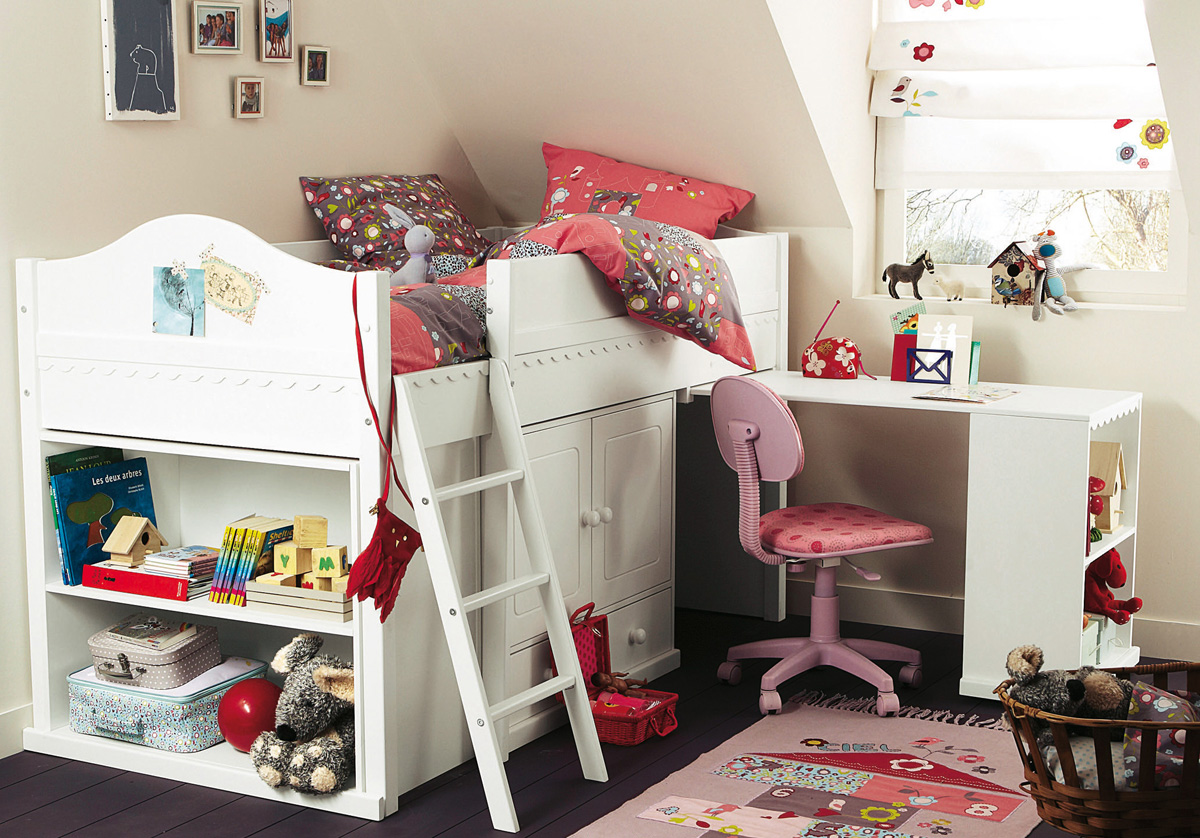 minimalist girls bedroom design with white loft bed and white study desk and pink chair and sloped ceiling 15 trendy kids bedroom design ideas to inspire you girls room design ideas awesome