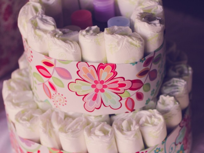 7Nappy cake adding the second tier 660x495