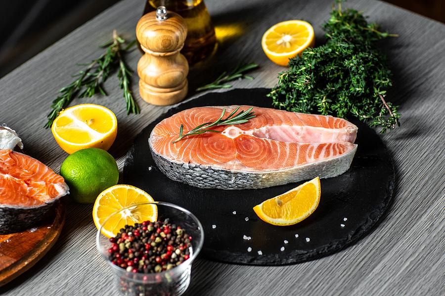 bigstock Fresh Salmon And Ingredient M 407932712