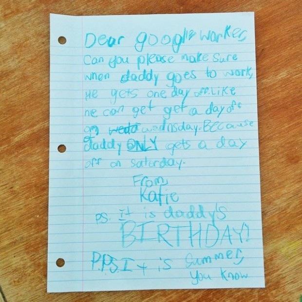 Πόσο συγκινητικό! Κοριτσάκι στέλνει γράμμα στην Google για να δώσει ρεπό στον μπαμπά της! (εικόνα)
