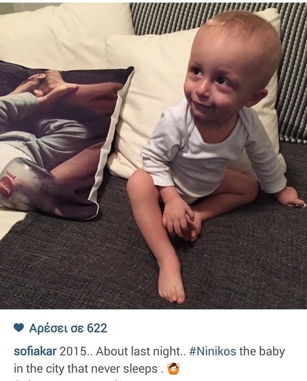 Σοφία Καρβέλα: Δείτε πώς γιόρτασε με το γιο της τον ερχομό του 2015! (εικόνα)