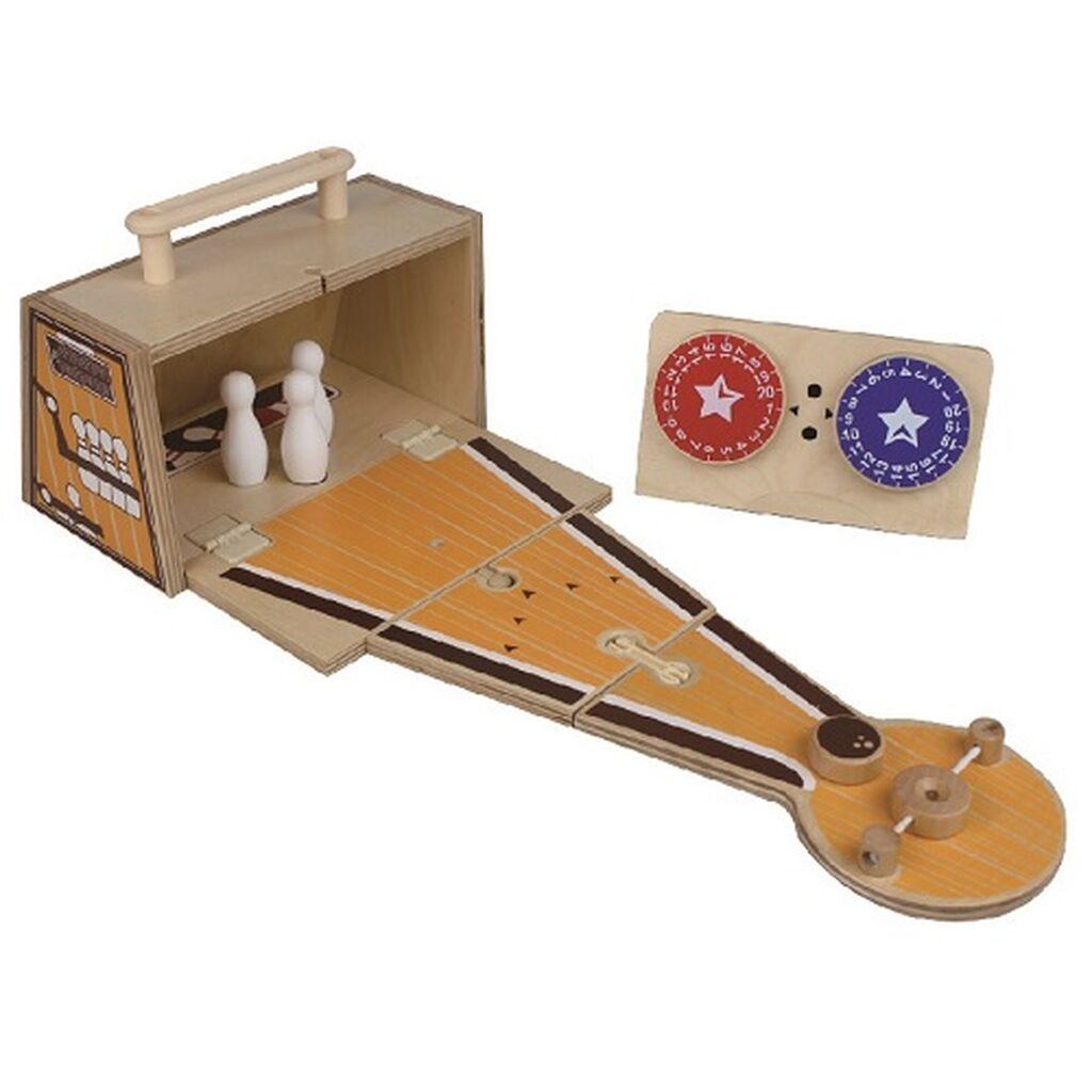 Ξύλινο 'Μπόουλινγκ' φορητό σε βαλιτσάκι - To απόλυτο παιχνίδι για την παιδική βόλτα