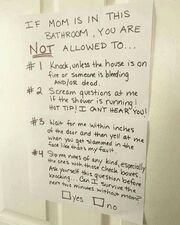 Εάν η μαμά είναι στο μπάνιο, δεν επιτρέπεται: #1 Να χτυπήσεις εκτός και αν το σπίτι έχει πάρει φωτιά ή εάν κάποιος αιμορραγεί ή/και πεθαίνει! #2 Να μου κάνεις ερωτήσεις από άλλο δωμάτιο όταν τρέχει το νερό στο ντουζ. HOT TΙP! ΔΕΝ ΣΕ ΑΚΟΥΩ!