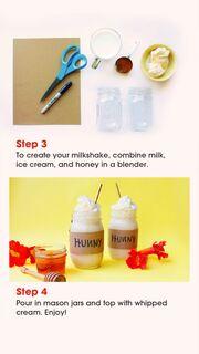 Για να φτιάξετε το milkshake πρέπει απλά να βάλετε στο μπλέντερ το παγωτό, το μέλι και το γάλα.