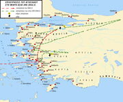 Χάρτης, όπου σημειώνεται η πορεία του Αγησιλάου στη Μικρά Ασία