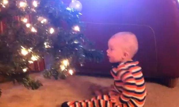 Βίντεο: Δείτε με πόση χαρά ο μπόμπιρας πετά τις Χριστουγεννιάτικες μπάλες!