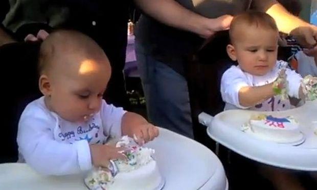 Βίντεο: Τα απίθανα δίδυμα που πασαλείβονται με τις τούρτες τους!