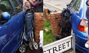 Η σοκαριστική εικόνα ενός καροτσιού που συνθλίβεται από διερχόμενο αυτοκίνητο!