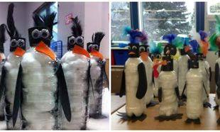 Φτιάξτε χαριτωμένα πιγκουινάκια με μπουκάλια και βαμβάκι