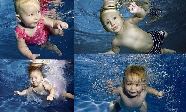 Κολυμβητές από κούνια! Απίθανες πόζες μωρών κάτω από το νερό! (εικόνες)