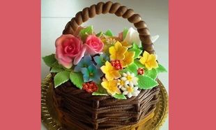 My cakes - My hobby: Φτιάχνουμε τούρτα - καλάθι γεμάτη με λουλούδια