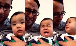 Δε φαντάζεστε πως αντιδρά αυτός ο μικρούλης στις γκριμάτσες του μπαμπά του! (βίντεο)