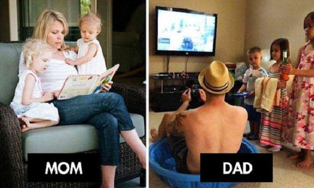 Απολαυστικό:Ποιες είναι οι διαφορές μεταξύ μαμάς και μπαμπά (εικόνες)