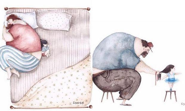 14 εντελώς αξιολάτρευτα σκίτσα που δείχνουν τη σχέση που έχουν οι μπαμπάδες με τις κόρες τους!