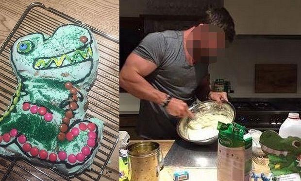Γνωστός ηθοποιός έφτιαξε τούρτα δεινόσαυρο στην κόρη του, γιατί δεν έβρισκε στα ζαχαροπλαστεία!