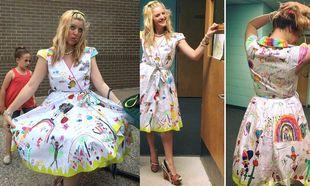 Δασκάλα ζήτησε από τους μαθητές της να ζωγραφίσουν το φουστάνι της ως ενθύμιο!
