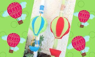 DIY: Πασχαλινές λαμπάδες με τσόχινο αερόστατο