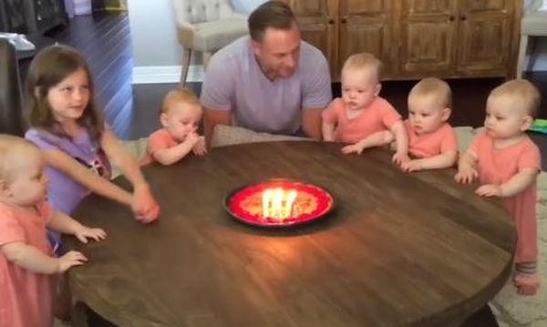 Μπαμπάς σβήνει τα κεράκια της τούρτας του και οι κόρες του ξεσπούν σε κλάματα