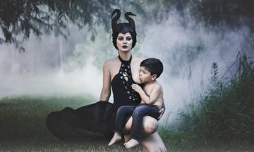 Φωτογραφήθηκε ως Maleficent θηλάζοντας το γιο της και οι φώτο της έγιναν viral (pics)
