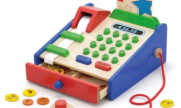 Ξύλινη ταμειακή μηχανή: Το παιδί διασκεδάζει και μαθαίνει να μετρά