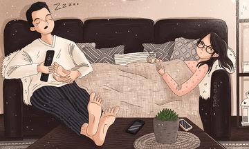 Μια καλλιτέχνης αποτυπώνει τις στιγμές ενός σύγχρονου ζευγαριού σε  ψηφιακά σκιτσάκια
