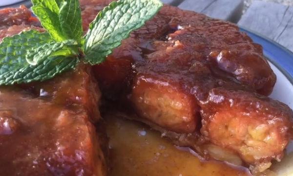 Ανάποδο κέικ με καραμελωμένες μπανάνες - Λαχταριστή συνταγή (vid)
