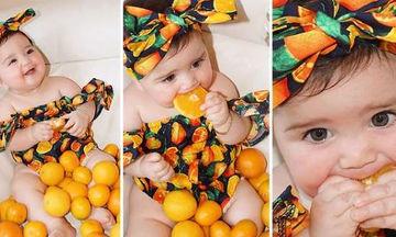 Αυτή η μπέμπα δοκιμάζει για πρώτη φορά πορτοκάλι - Το φόρεμά της είναι όλα τα λεφτά! (vid)
