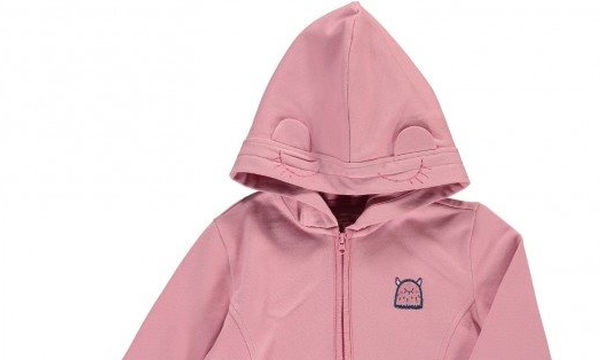 Ροζ παιδική ζακέτα για κορίτσια με πρωτότυπη κουκούλα