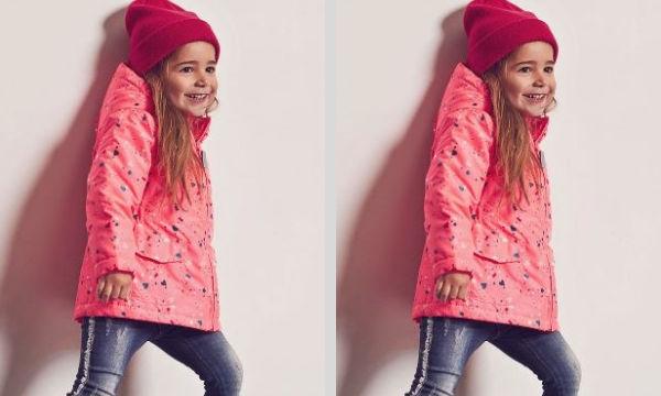 Μοντέρνο ροζ μπουφάν για κορίτσια με σχέδια σε οικονομική τιμή