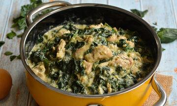 Κοτόπουλο φρικασέ με σπανάκι - Φτιάξτε το σήμερα κιόλας