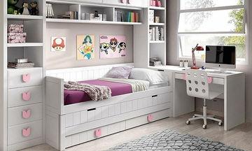 Kοριτσίστικο δωμάτιο: Ιδέες για να συνδυάσετε κρεβάτι και γραφείο (pics)
