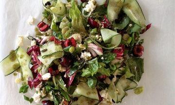 Συνταγή για πράσινη σαλάτα με κεράσια, φέτα και dressing ηλιόσπορου