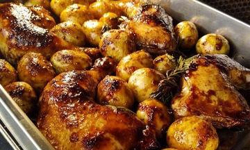 Κοτοπουλάκι γλασσαρισμένο με κρέμα βαλσάμικο και πατάτες baby