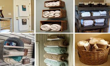 Έξυπνες και πρακτικές ιδέες για να αποθηκεύσετε τις πετσέτες μπάνιου (pics + vid)