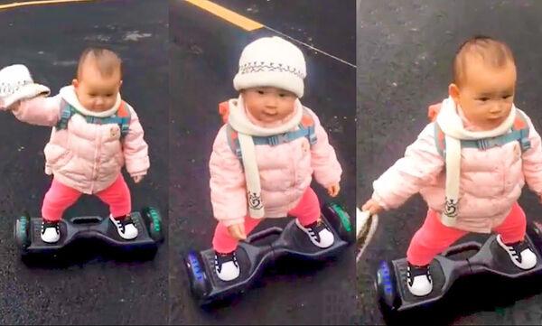 «Πιάσε με αν μπορείς»! Δείτε πώς κάνει ηλεκτρικό πατίνι το μόλις ενός έτους κοριτσάκι (vid)