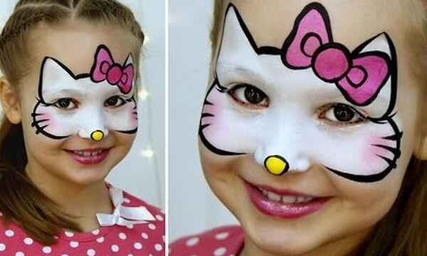 Hello Kitty: Αποκριάτικο face painting για κορίτσια (vid)