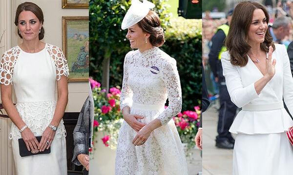 Η Kate Middleton ντυμένη στα λευκά - Δείτε τις καλύτερες εμφανίσεις της (vid)