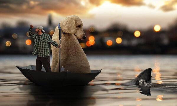 Φωτογραφίζεται με τον τεράστιο σκύλο του στις πιο φανταστικές πόζες που έχετε δει (pics)