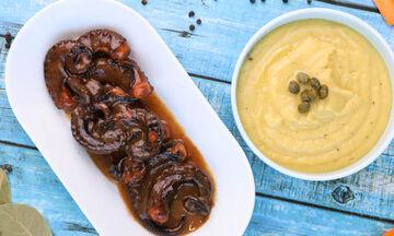 Συνταγή για καραμελωμένο χταπόδι με φάβα