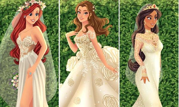 Καλλιτέχνης «φόρεσε» νυφικά στις πριγκίπισσες της Disney (pics)