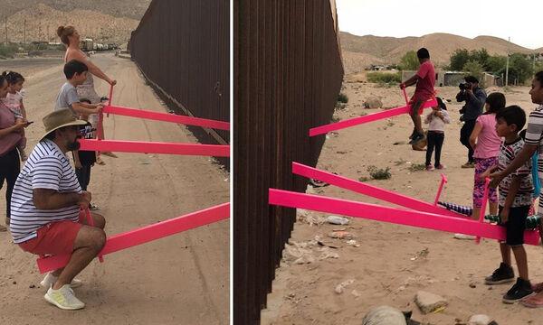 Τρεις τραμπάλες γίνονται σύμβολο ανθρωπιάς & ειρήνης (vid & pics)