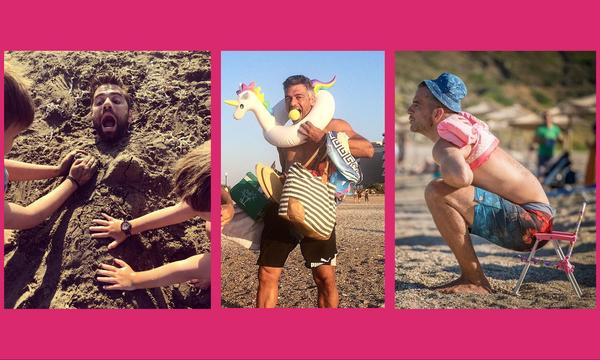 Πέντε διάσημοι Έλληνες μπαμπάδες που παίζουν με τα παιχνίδια των παιδιών τους στη θάλασσα (pics)