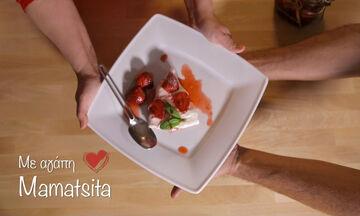 Cheesecake με γλυκό του κουταλιού φράουλα (vid)