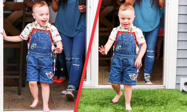 Αγοράκι παίζει έξω από το σπίτι για πρώτη φορά στα 4α γενέθλιά του - Δείτε την αντίδρασή του (vid)