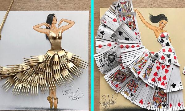 Καλλιτέχνης δημιουργεί εκπληκτικά φορέματα από αντικείμενα καθημερινής χρήσης (vid)