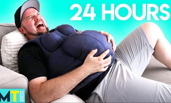 Απίστευτο βίντεο! Άντρες φοράνε ψεύτικη κοιλιά για 24 ώρες για να δουν πώς νιώθει μία έγκυος (vid)