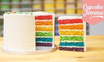 Εντυπωσιακή τούρτα ουράνιο τόξο - Δείτε πώς να τη φτιάξετε (vid)