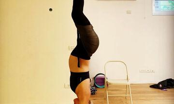 Διάσημη εγκυμονούσα κάνει aerial yoga σε προχωρημένη εγκυμοσύνη (pics)