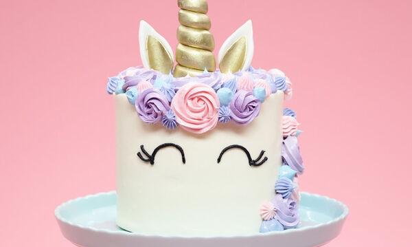 Φανταστική τούρτα Unicorn - Δείτε πώς θα τη φτιάξετε βήμα βήμα (vid)