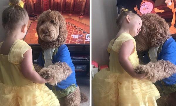 Viral βίντεο: 3χρονη χορεύει με το σκύλο της το τραγούδι της ταινίας «Η Πεντάμορφη και το Τέρας»